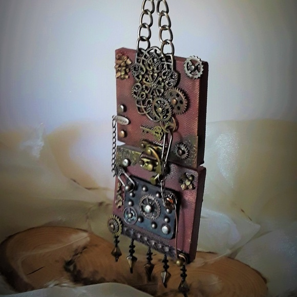 """BeaslePunk Art Original Other - Imagine: 2 joined 3D mini 3""""x3"""" Steampunk canvases"""
